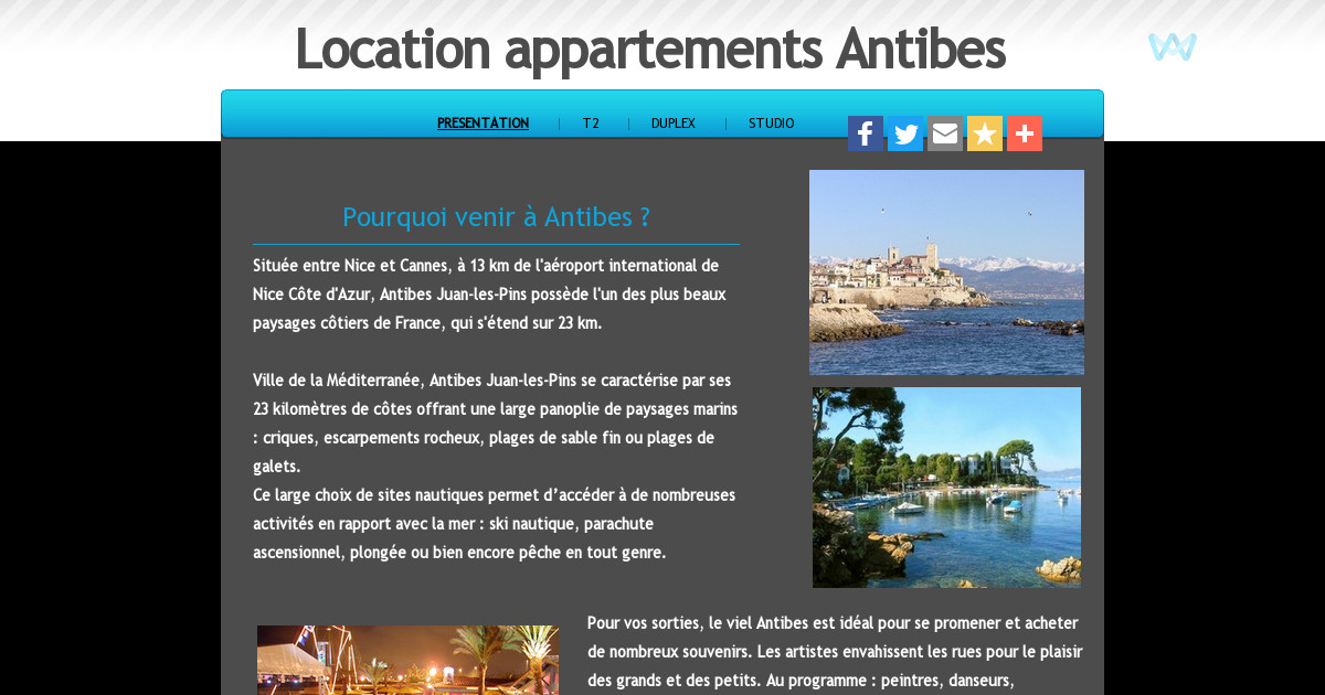 Location appartement antibes presentation for Location studio meuble antibes